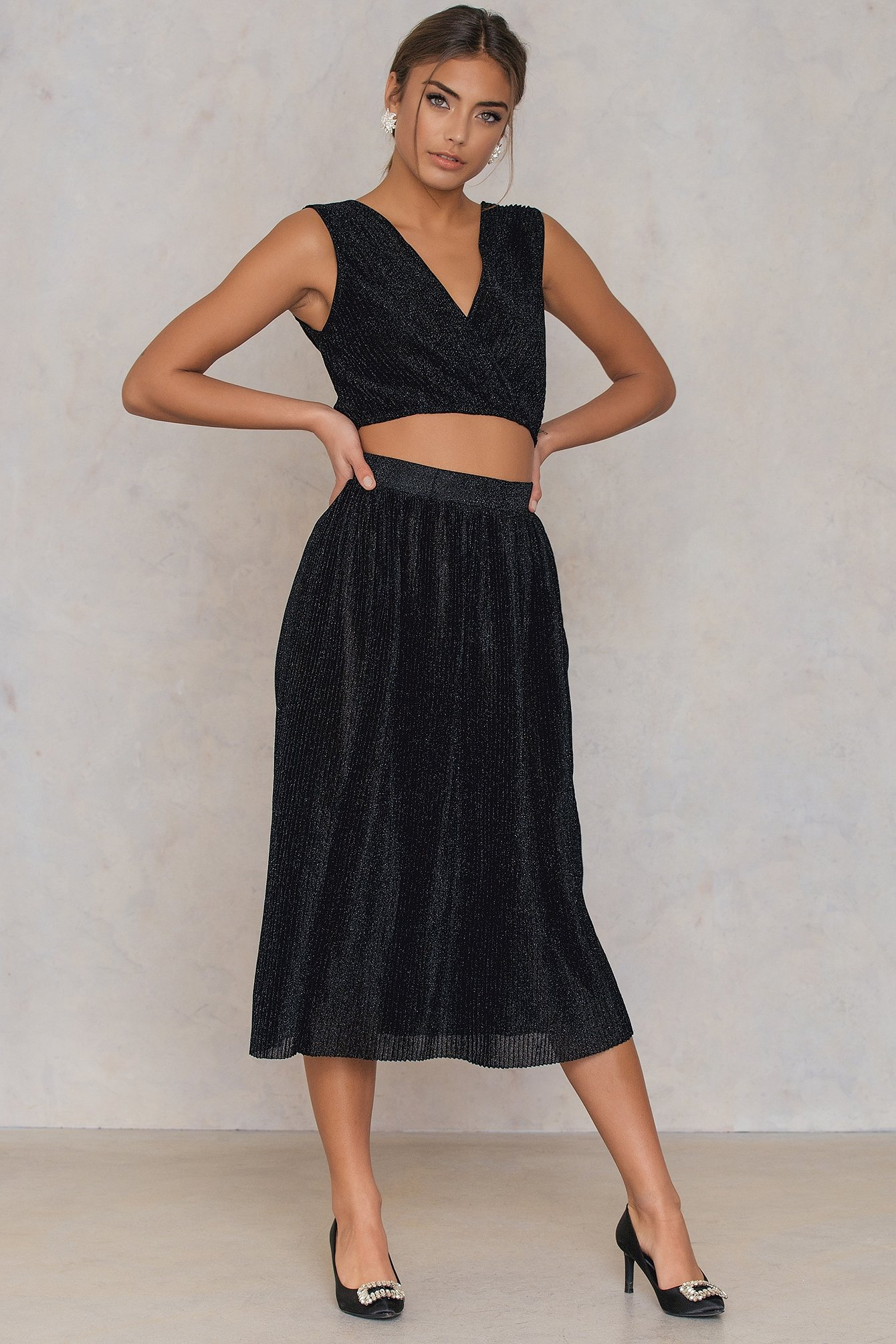 NA-KD Party Pleated Glittery Skirt - Black