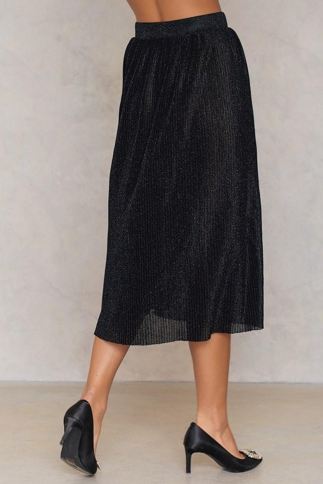 Pleated Glittery Skirt Black