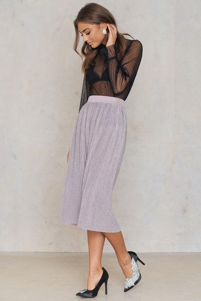 Brokatowa spódnica z plisami Light Pink