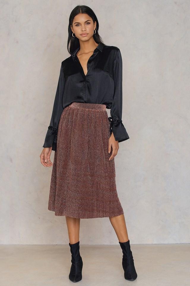 Pleated Glittery Skirt Multicolor