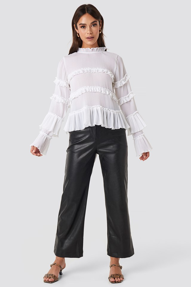 Pleated High Neck Frill Blouse White