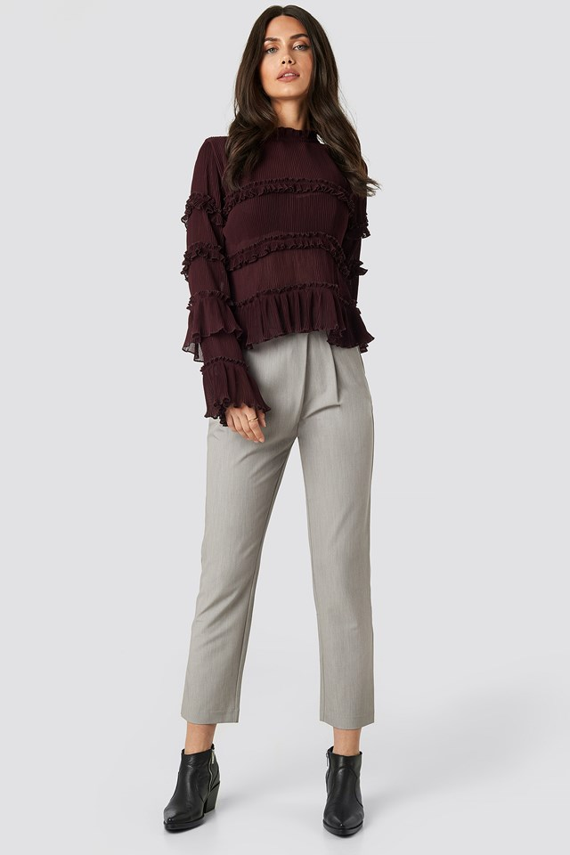 Pleated High Neck Frill Blouse Burgundy