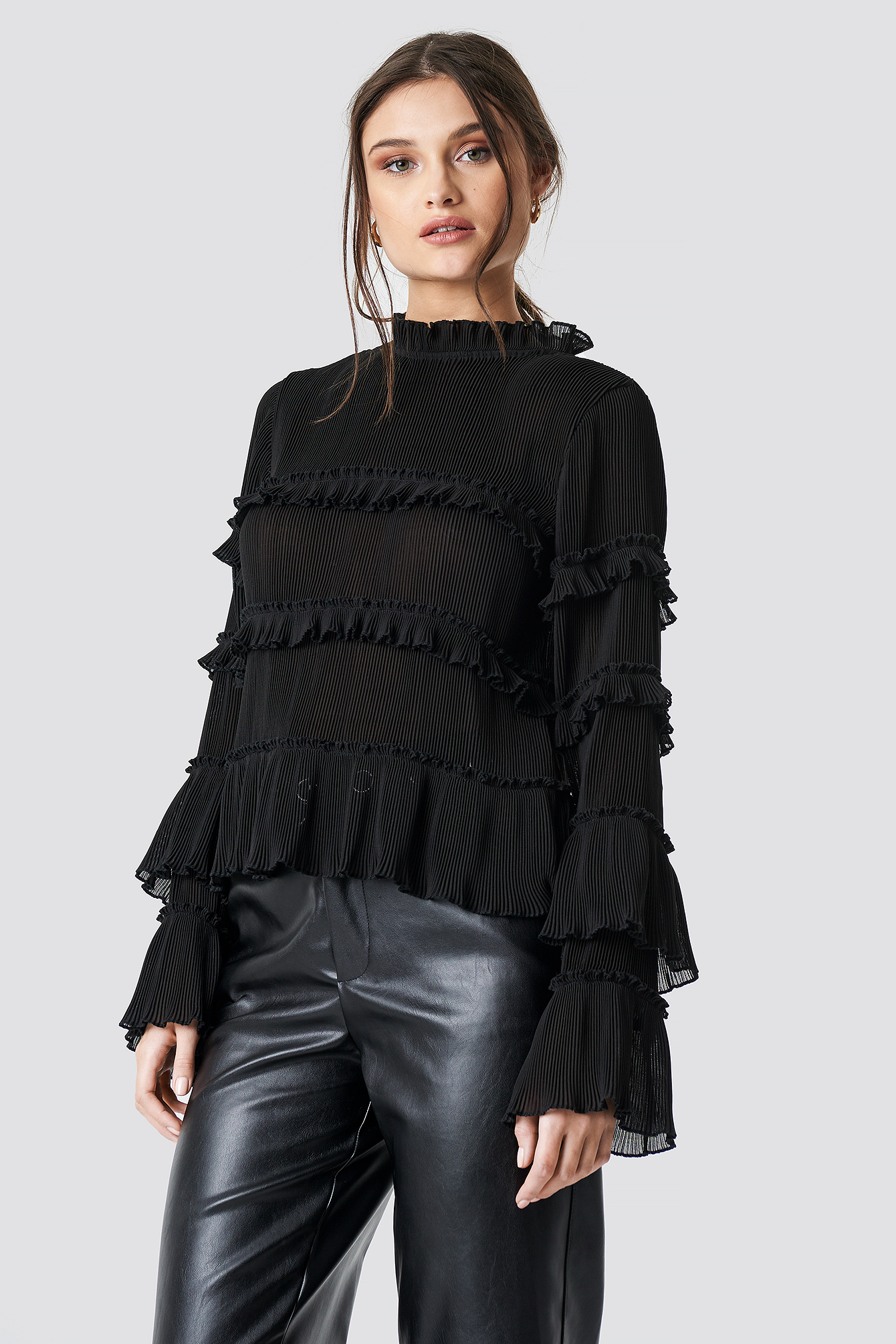 Pleated High Neck Frill Blouse NA-KD.COM