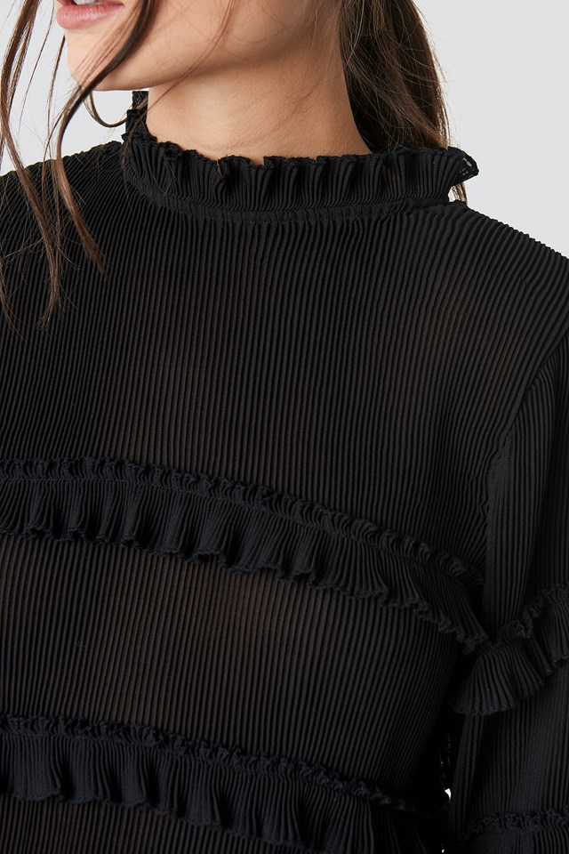 Pleated High Neck Frill Blouse Black