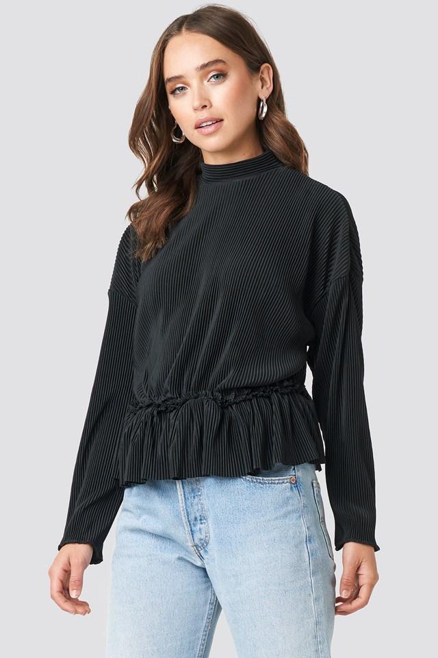 Pleated High Neck Long Sleeve Top Black