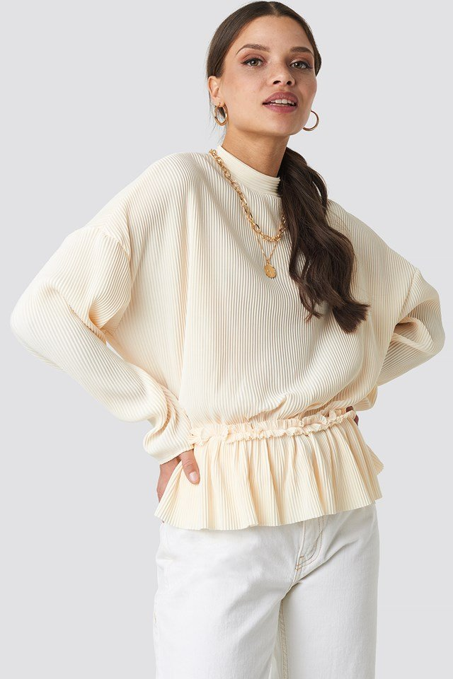 Pleated High Neck Long Sleeve Top NA-KD Trend