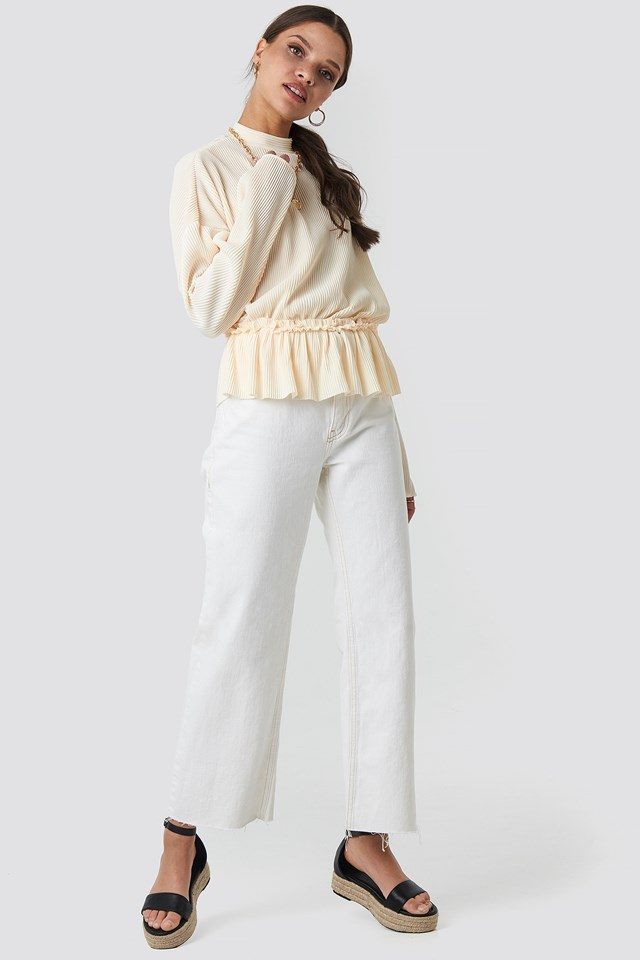 Pleated High Neck Long Sleeve Top Offwhite