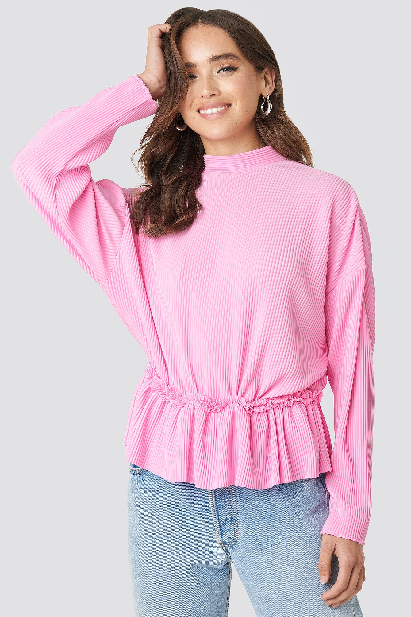 Pleated High Neck Long Sleeve Top NA-KD.COM