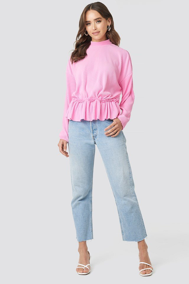 Pleated High Neck Long Sleeve Top Pink