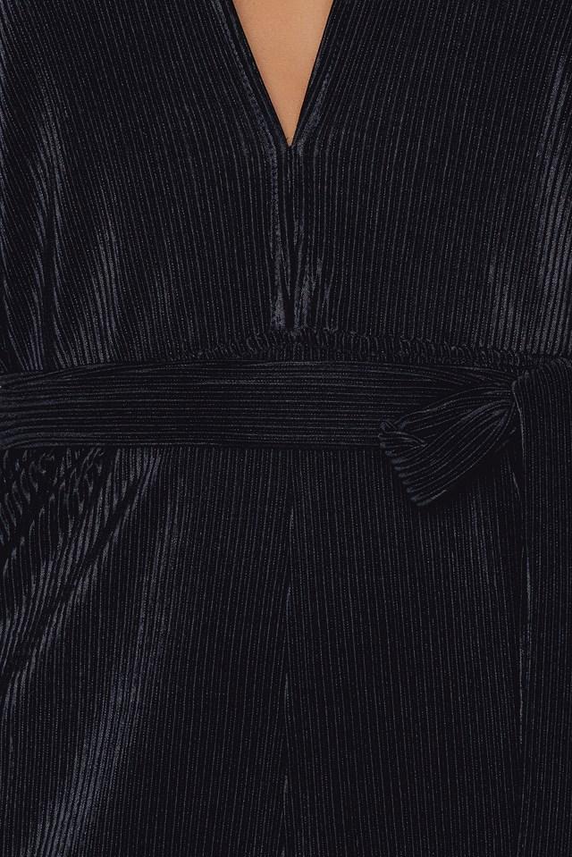 Pleated Playsuit Black