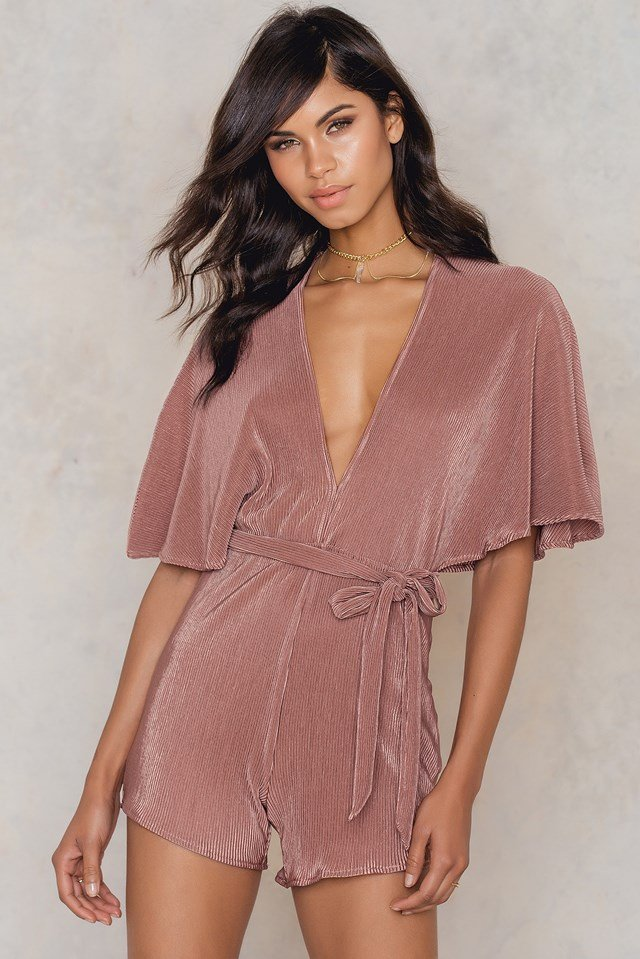 Pleated Playsuit Dusty Dark Pink