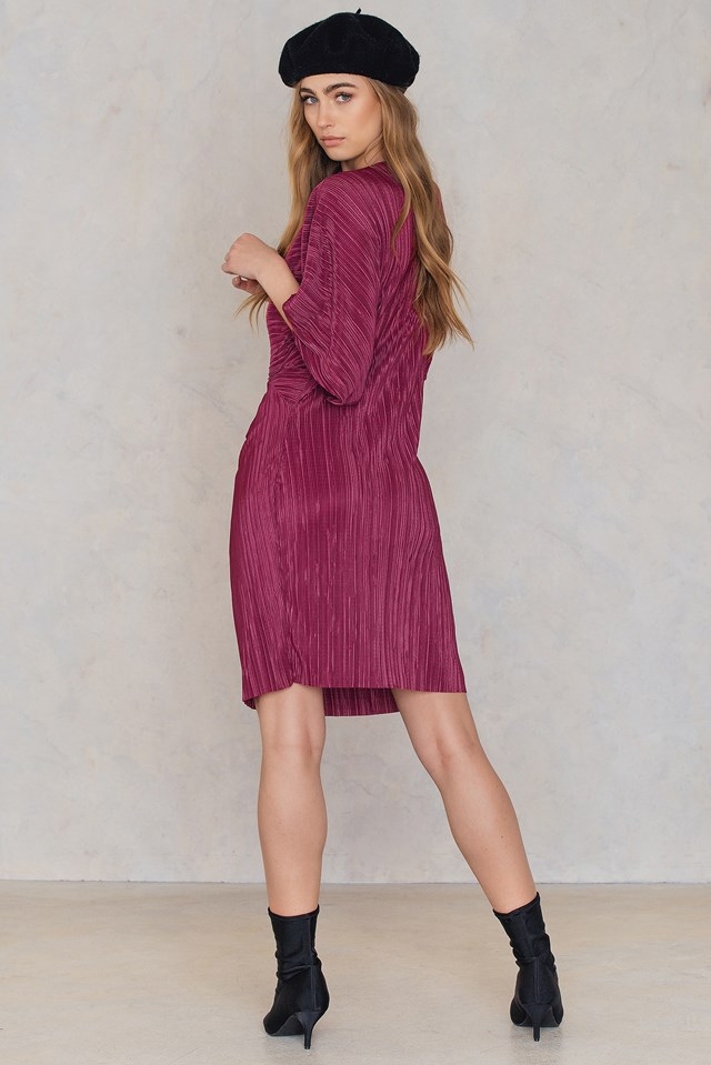 Pleated Knot Front Dress Dusty Rose