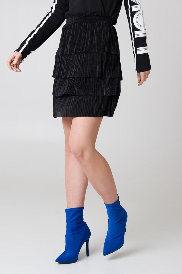 Pleated Layered Skirt Black