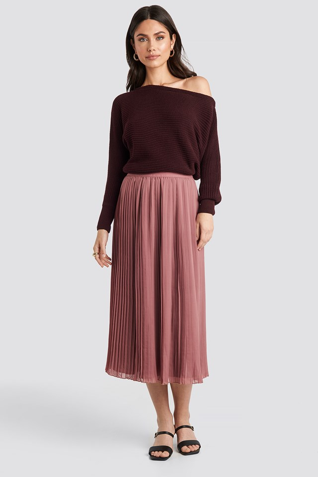 Pleated Long Skirt Purple Rose
