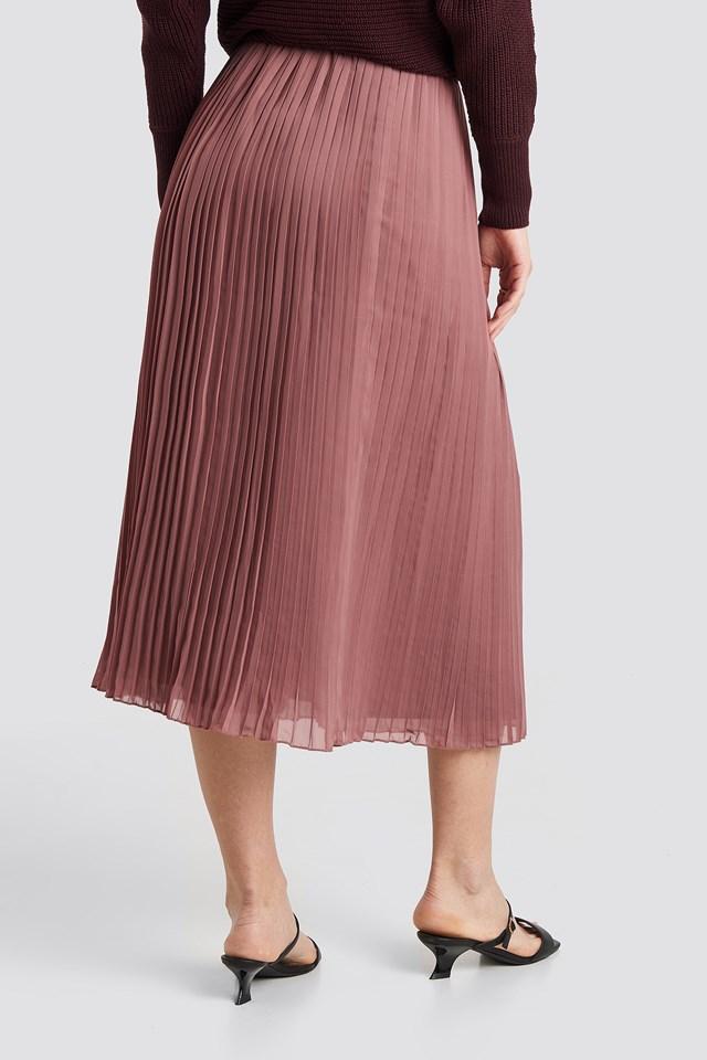 Pleated Long Skirt Purple Rose