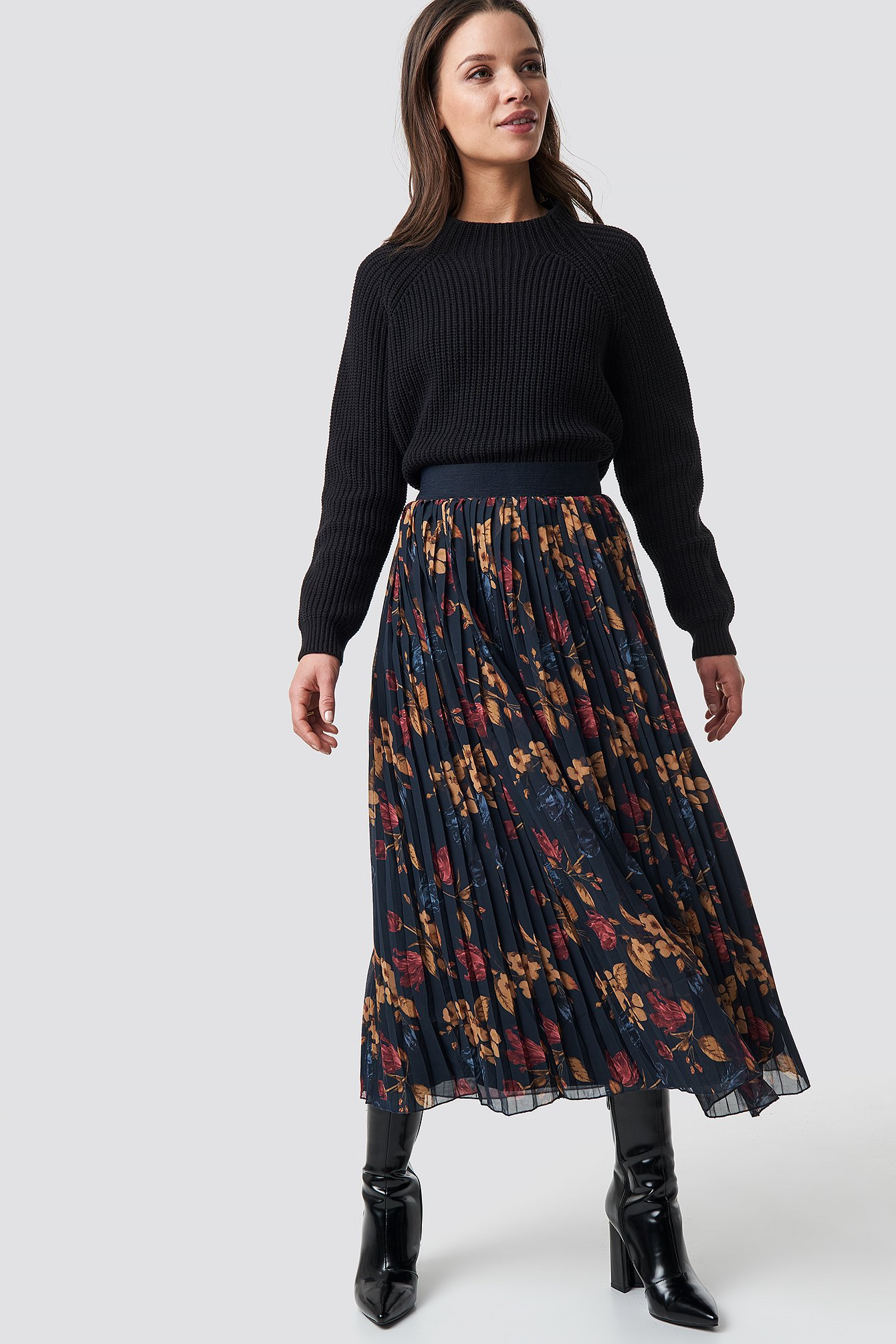 na-kd -  Pleated Long Skirt - Multicolor