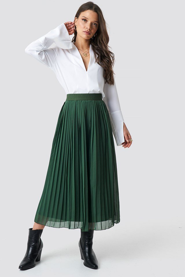 Pleated Long Skirt Dark Green