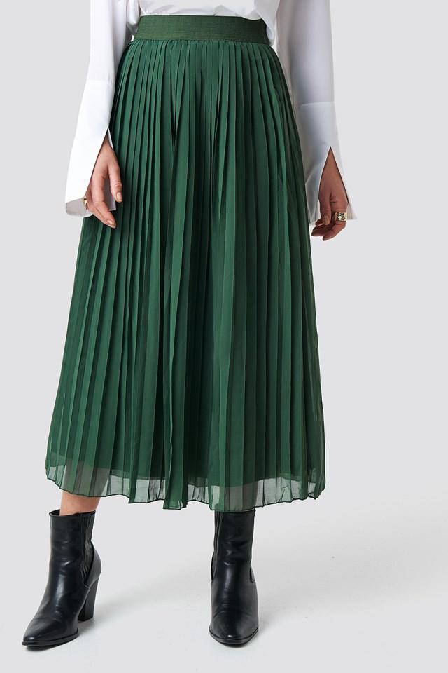 Pleated Long Skirt Dark Green