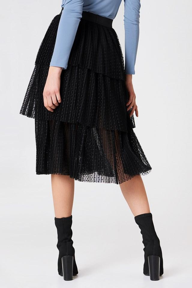 Pleated Mesh Skirt Black