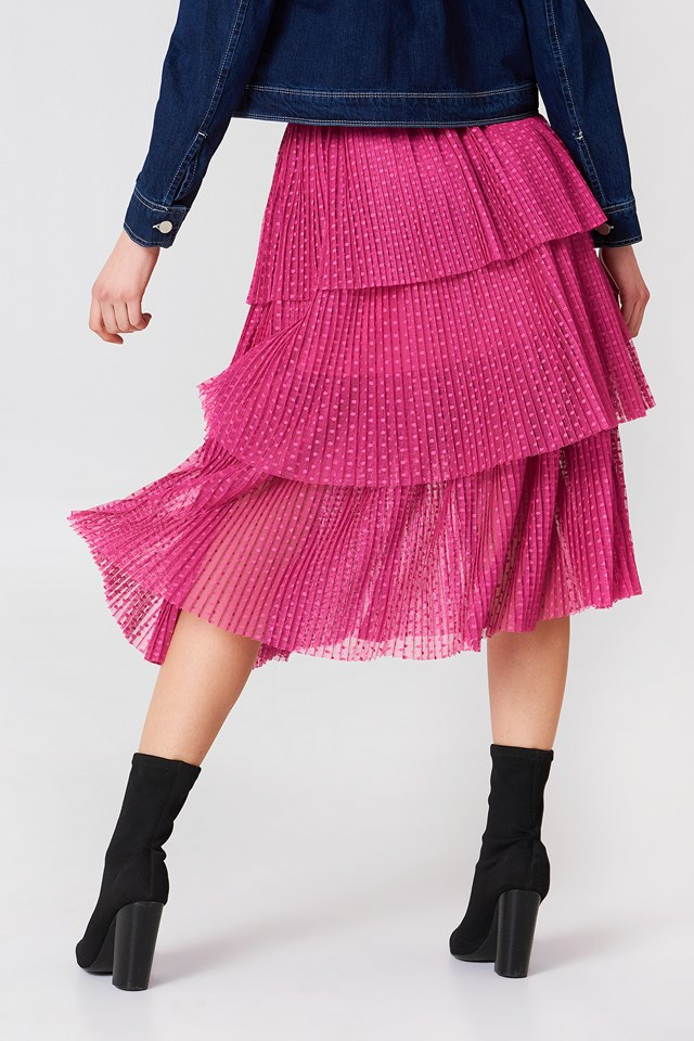 Pleated Mesh Skirt Pink