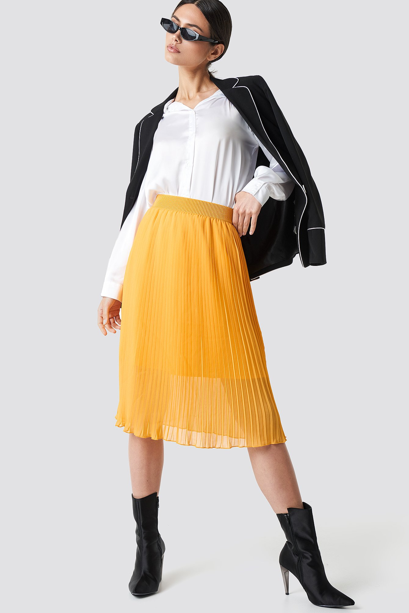 na-kd -  Pleated Midi Skirt - Orange,Yellow