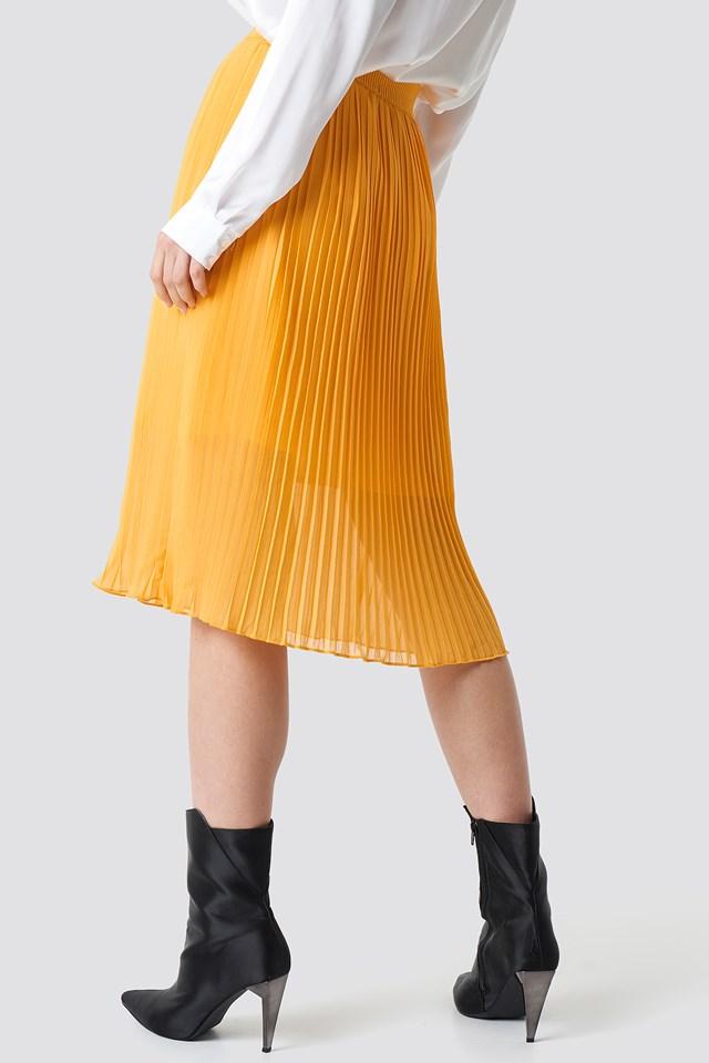 Plisowana spódnica midi Orange