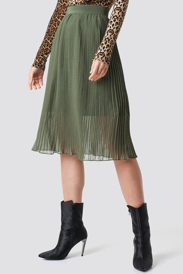 Plisowana spódnica midi Khaki Green