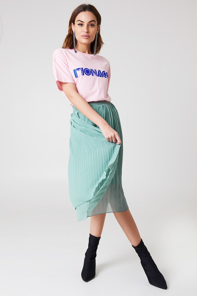 Pleated Midi Skirt Duck Green