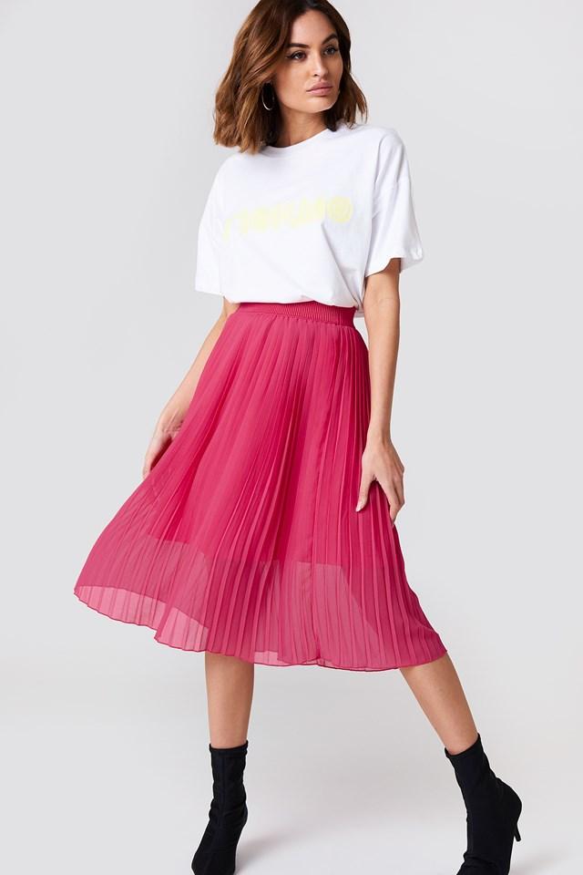 Pleated Midi Skirt Magenta