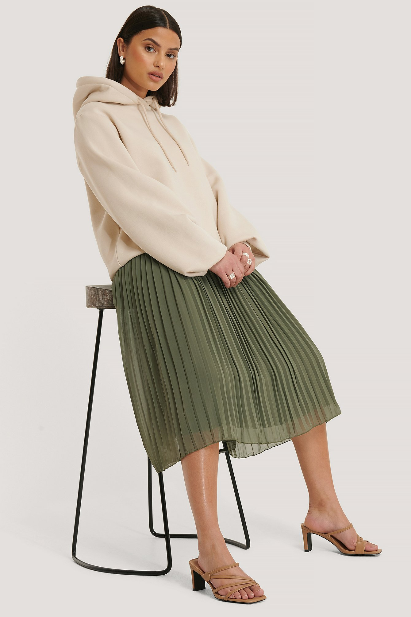 Khaki Green Pleated Midi Skirt