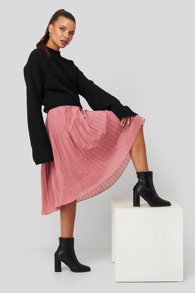 Pleated Midi Skirt Purple Rose