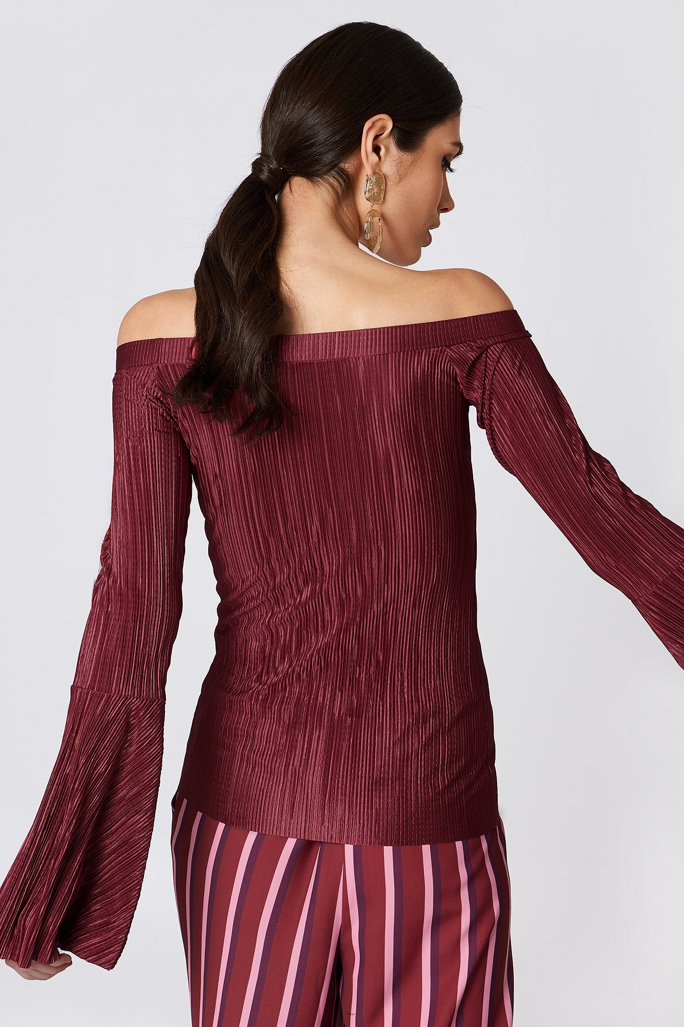 Dusty Rose Pleated Off Shoulder Top