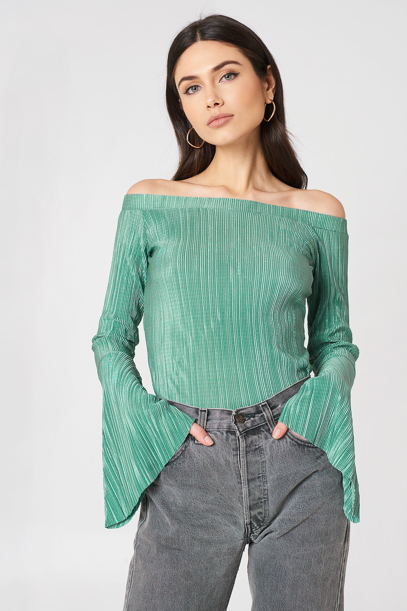 na-kd -  Pleated Off Shoulder Top - Green