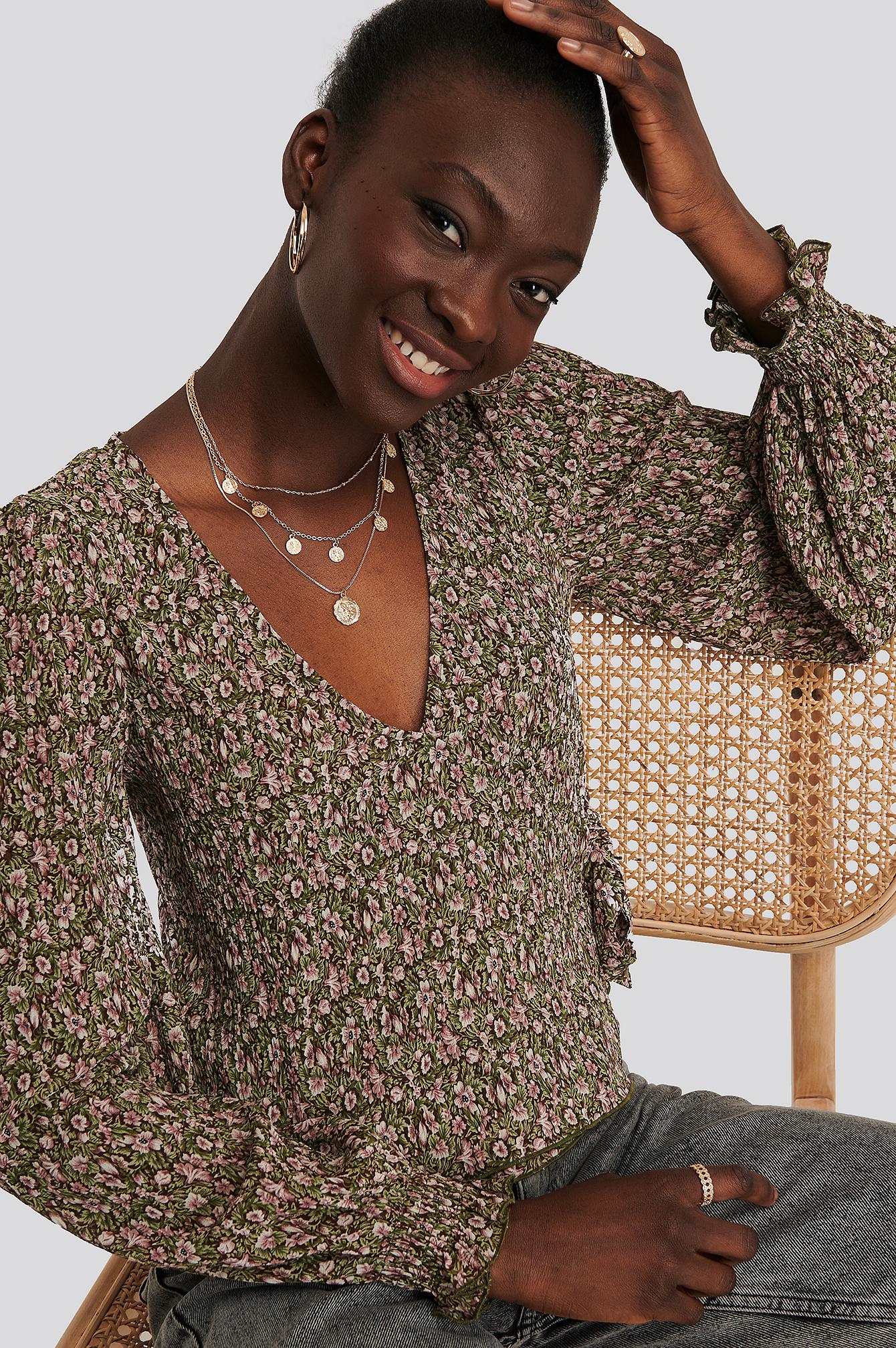 na-kd boho -  Plissierte Bluse - Multicolor