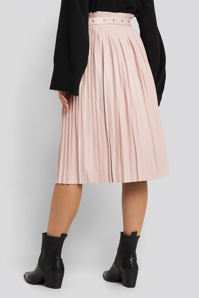 Pleated Pu Belt Skirt Dusty Pink