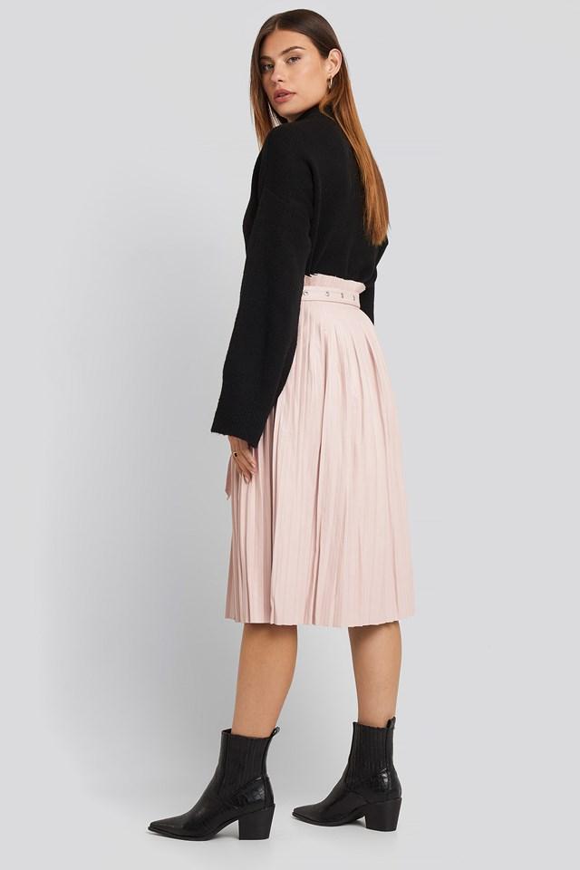 Pleated Pu Belt Skirt Dusty Pink