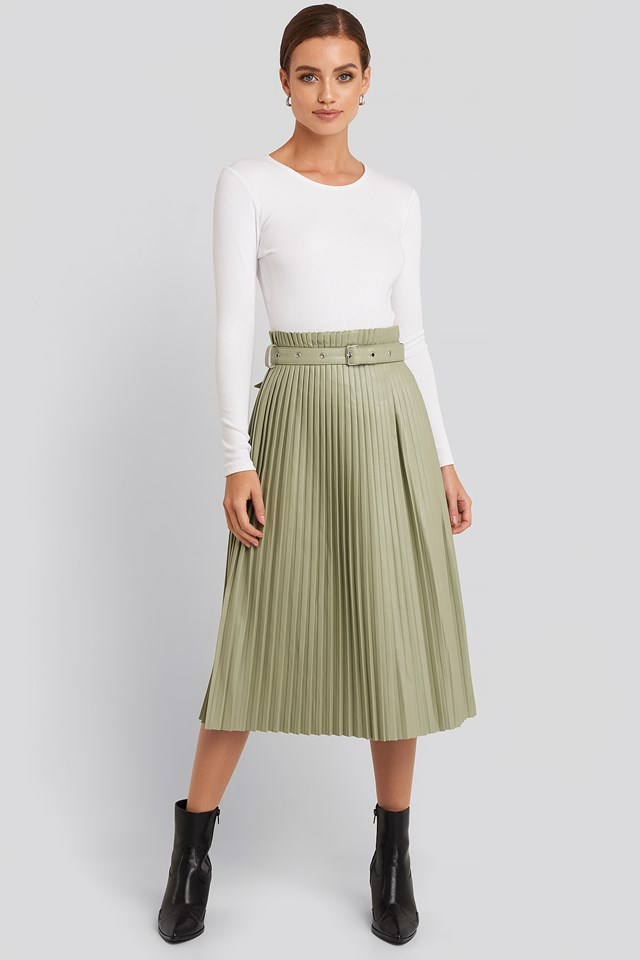 Pleated Pu Belt Skirt Pastel Green