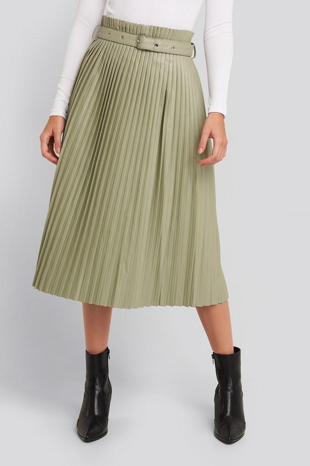Pleated Pu Belt Skirt Pastel Green