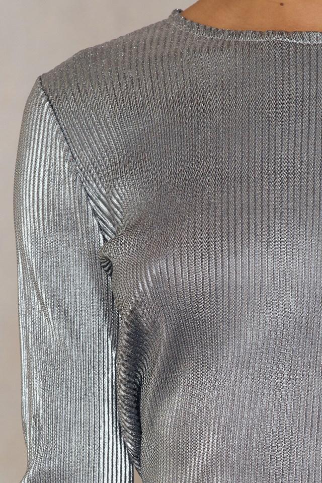 Pleated Round Neck Open Back Top Dark Silver