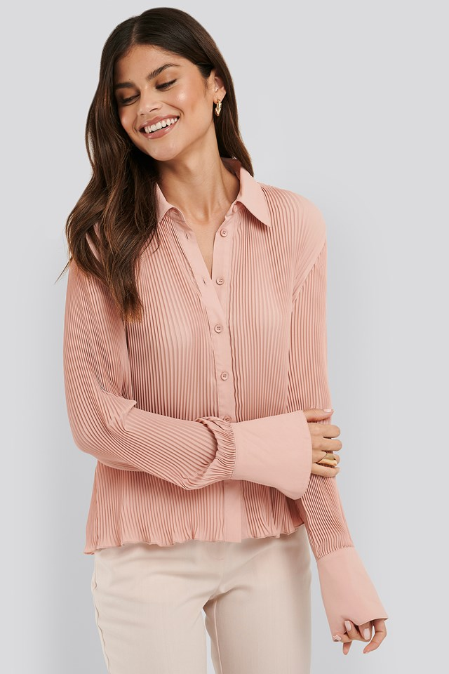 Pleated Sheer Blouse Pink