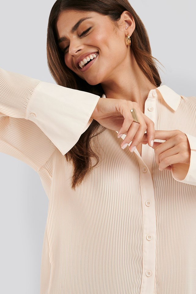 Pleated Sheer Blouse Cream