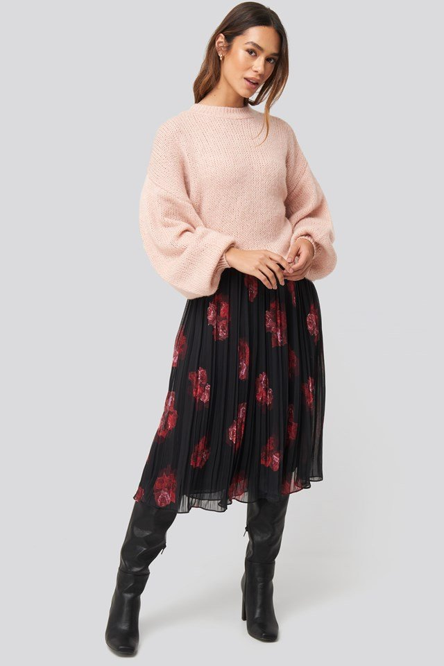 Pleated Sheer Midi Skirt Flower Print