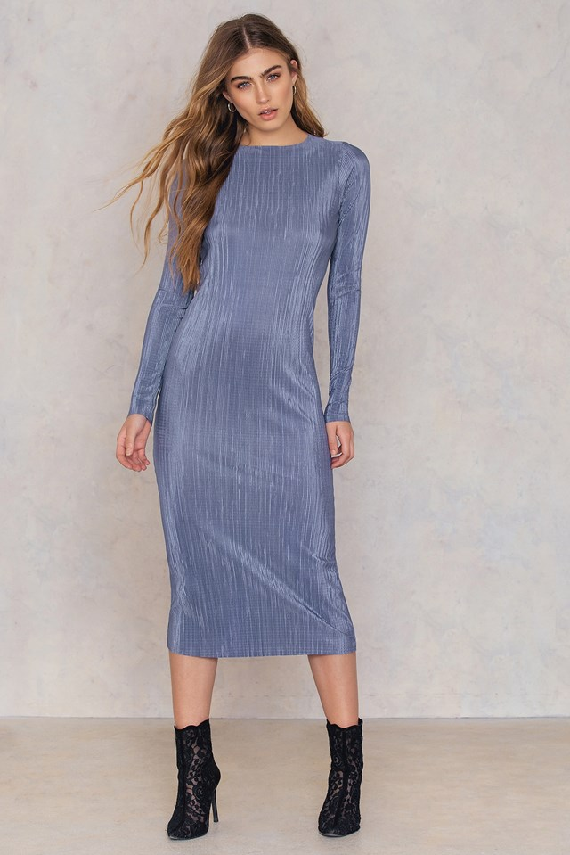 Pleated Shimmery Dress Blue