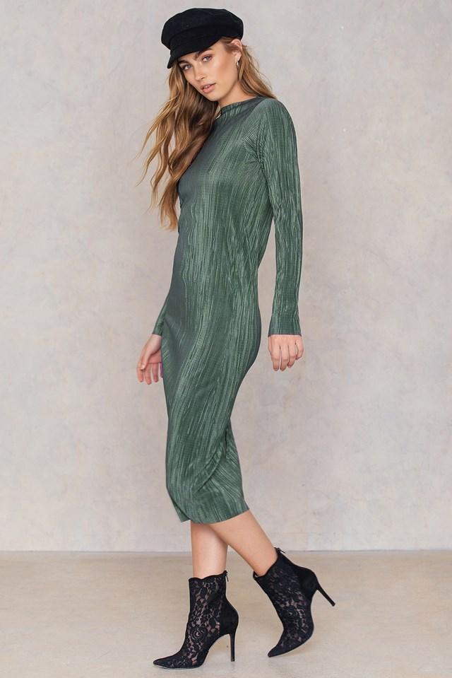 Pleated Shimmery Dress NA-KD.COM