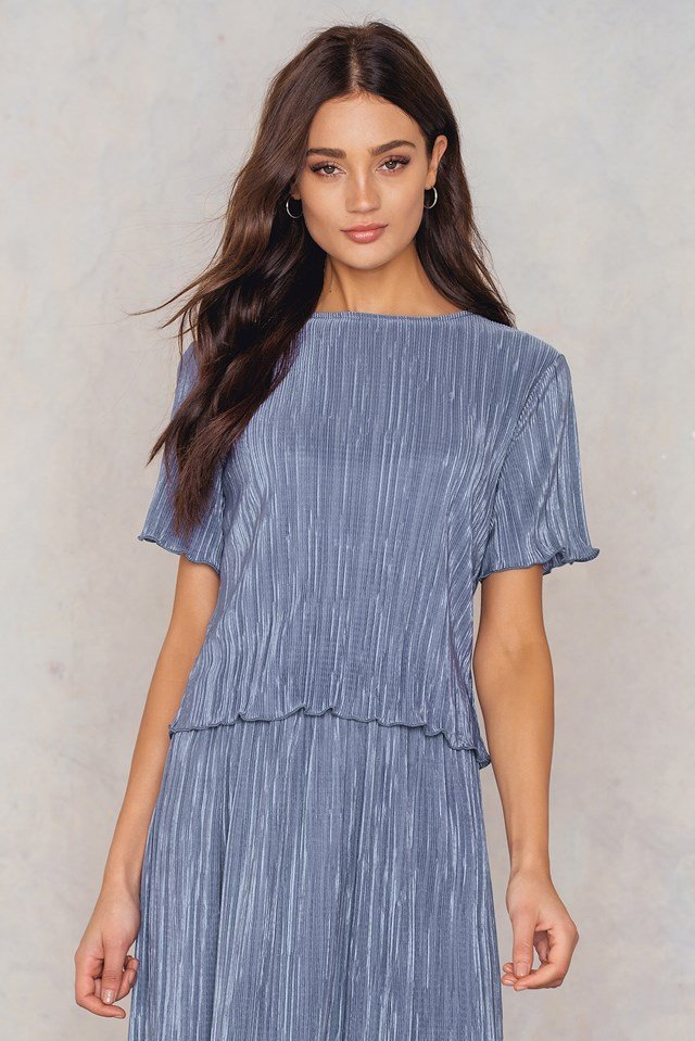 Pleated Shimmery Top Blue