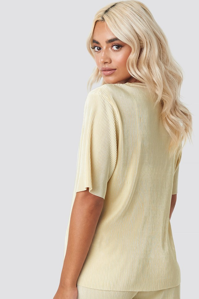 Pleated Short Sleeve Top Cream