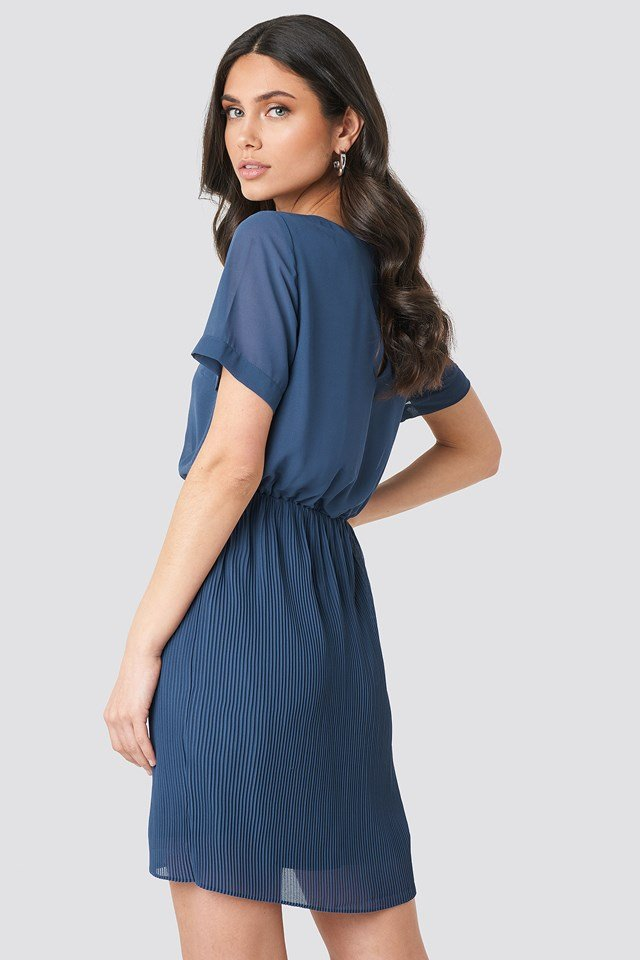 Pleated Skirt Part Dress Dark Dusty Blue