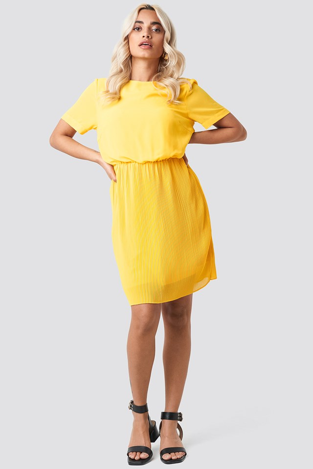 Pleated Skirt Part Dress Citrus