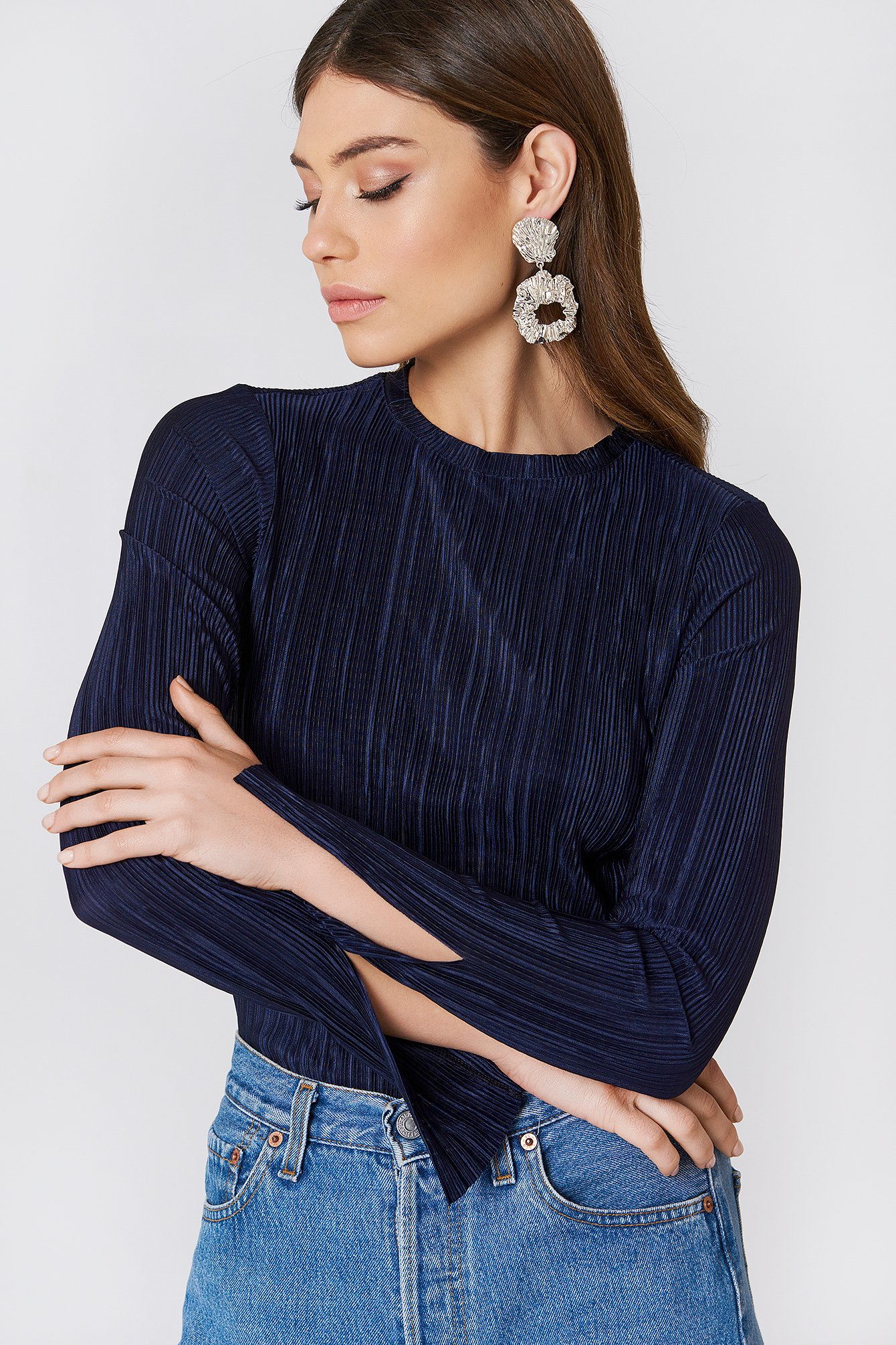 Pleated Sleeve Slit Top  NA-KD.COM