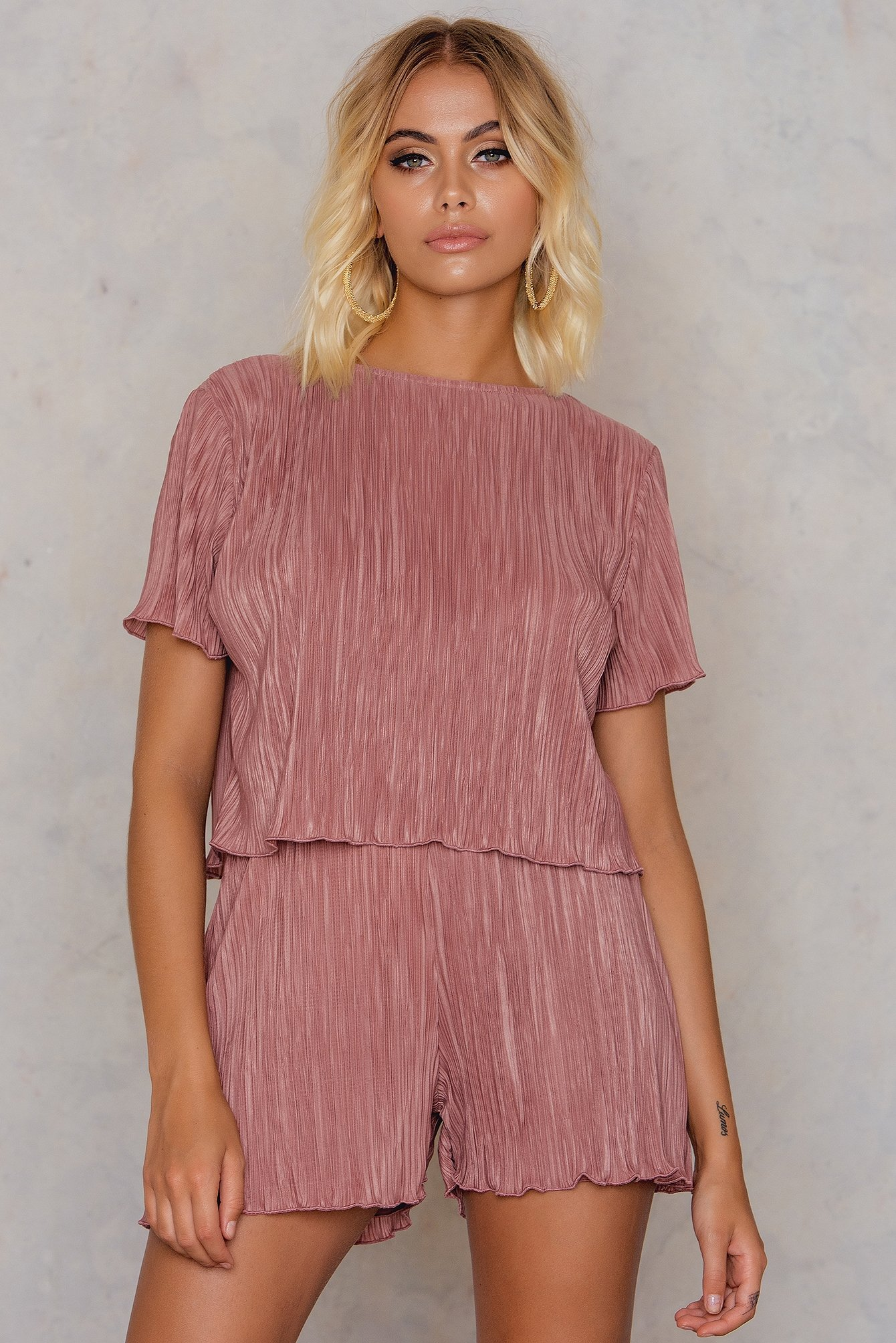 Pink Terracotta Pleated Top & Shorts Set
